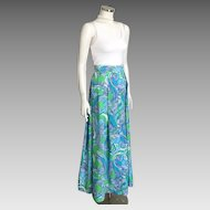 Vintage 1960s 1970s Bright Blue Green White Mod Abstract Paisley Maxi Skirt M