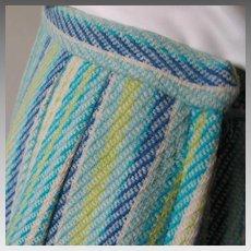 Vintage 1960s Blues Green Cream Vertically Striped Virgin Wool Skirt W25
