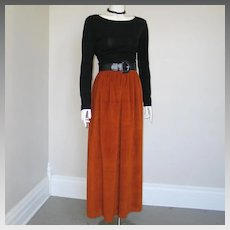Vintage 1970s Chestnut Rust Brown Soft Plush Maxi Skirt XS