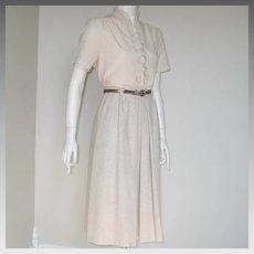 Vintage 1970s Oatmeal Cream Fall Winter Skirt with Bronze Metallic Finish Skinny Belt XS S