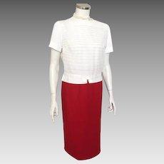 Vintage 1980s Red Sag Harbor Twill Weave Wool Skirt M