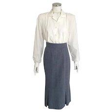 Vintage 1970s Slate Blue Gray Chevron Weave Skirt by Pandora S M