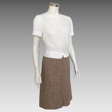 Vintage 1970s Light Brown Tan Slubbed Tweed Slub Skirt M