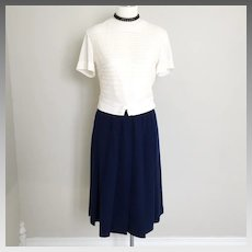 Vintage 1950s Royal Blue Dalton Wool Pleated Skirt S