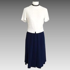 Vintage 1950s Royal Blue Dalton Wool Pleated Skirt S