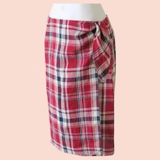 Vintage 1990s Ralph Lauren Red Plaid Linen Wrap Skirt 6  S