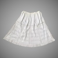 Vintage 1950s Sheer White Broderie Anglaise Eyelet Embroidery Skirt S M