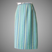 Vintage 1960s Blue & Green Vertical Striped Virgin Wool Skirt W25