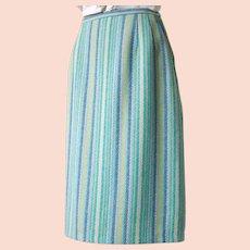 Vintage 1960s Blue & Green Vertical Striped Virgin Wool Skirt W25