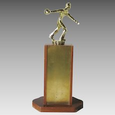 Vintage 1963 1964 Bowling Trophy Faculty Champs Wood Brass Kitsch MCM