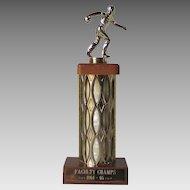 Vintage 1960s Bowling Trophy Wood Brass Bowler 64 65 MCM Kitsch