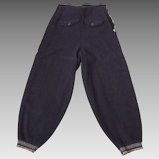 Vintage 1930s Navy Blue Thick Wool Snow Pants Ski Pants Winterwear  S
