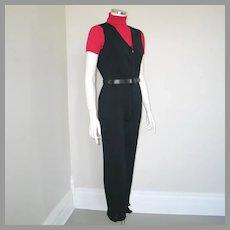 Vintage 1960s Austrian Designer Black Ski Wear Jumpsuit Stirrup Pants Karl Bsik XS