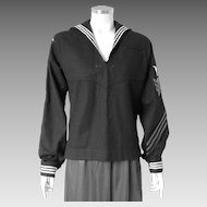 Authentic Vintage USN United States Navy Military Service Dress Blue Jumper Middy USS Yorktown