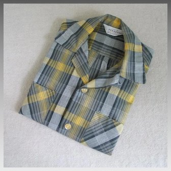 Vintage 1950s TRAD Penney's Yellow Gray Black Plaid Loop Collar Boys Shirt Size 12