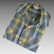 Vintage 1950s TRAD Penney's Yellow Gray Black Plaid Loop Collar Boys Shirt Size 12