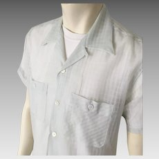 Vintage 1950s  Sheer Sea Green Nylon Menswear Loop Summer Shirt L