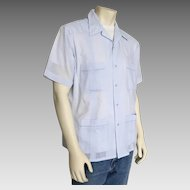 Vintage 1980s Pale Blue Guayabera Mens Summer Shirt Haband of Paterson L