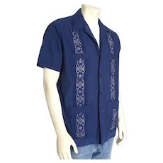 Vintage 1970s Navy Blue with Gray Embroidery and Tucks Guayabera Shirt by the Romani Collection L