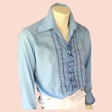 Vintage 1970s Powder Blue with Navy Blue Tux Ruffled Tuxedo Menswear Shirt by After Six 15 x 33