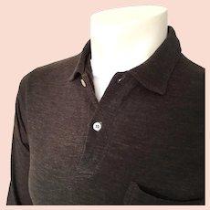 Vintage 1960s Dark Brown Grand Slam Munsingwear Menswear Longsleeve Pullover Knit Shirt M