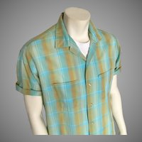 1950s Vintage Ward Cleaver Style Menswear Shirt Aqua Gold Shadow Plaid L