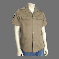 1960s Vintage Khaki Military Uniform Shirt with Badges  M