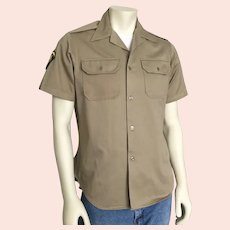 1960s Vintage Khaki Military Uniform Shirt with Badges  M