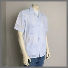 1980s Vintage Light Blue Guayabera Mens Summer Shirt Haband of Paterson L