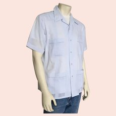 1980s Vintage Light Blue Guayabera Mens Summer Shirt Haband of Paterson L