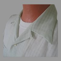 Vintage 1950s Sheer Sea Green Nylon Menswear Loop Summer Shirt L XL