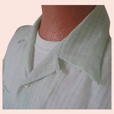 Vintage 1950s Sheer Sea Green Nylon Menswear Loop Summer Shirt L XL