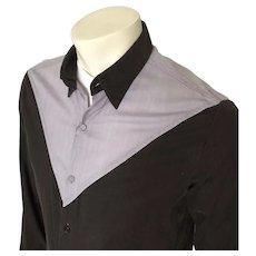 1980s Vintage 2 Tone Black & Gray Color Block Shirt by UFO M L