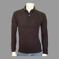 Vintage 1960s Dark Brown Grand Slam Munsingwear Menswear Longsleeve Pullover Knit Shirt M