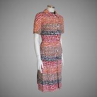 Vintage 1970s Andrew Arkin Two Piece Dress Ensemble Suit Giraffe Print Autumn Palette M