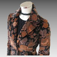 Vintage 1970s Black & Chestnut Brown Floral Velveteen Skirt Suit S M