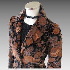Vintage 1970s Black & Chestnut Brown Floral Velveteen Skirt Suit S M