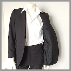 1960s Vintage Menswear Gray Pinstripe Skinny Suit with Polka Dot Lining  S M