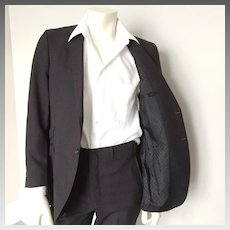 Vintage 1960s Modern Menswear Charcoal Gray Pinstripe Skinny Suit  with Polka Dot Lining  S M