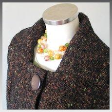 Vintage 1960s Boxy Cut Autumn Brown Tweed Ladies Suit with Pencil Slim Skirt