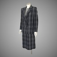 1970s Vintage Dark Black Plaid Double Breasted Jacket and Skirt Suit Peabody House M
