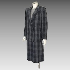 1970s Vintage Dark Plaid Double Breasted Jacket and Skirt Suit Peabody House M