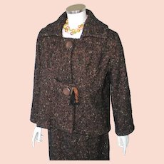 Vintage 1960s Boxy Cut Autumn Brown Tweed Ladies Suit with Pencil Slim Skirt