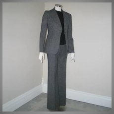 Vintage 1970s Gray and White Pinstripe Ladies Pants Suit Trouser Suit XS S