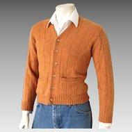 Vintage 1960s Orange Heathered Towncraft V Neck Cardigan Sweater Menswear S