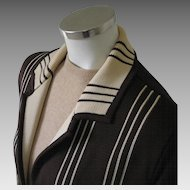 Vintage 1960s Brown Geometric Woven Design Long Cardigan Sweater M L