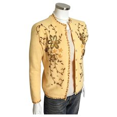 Vintage 1960s Saffron Yellow Gold Heavily Beaded and Sequinned Sweater M