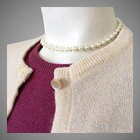 Vintage 1950s Cream Cashmere Cardigan Sweater M