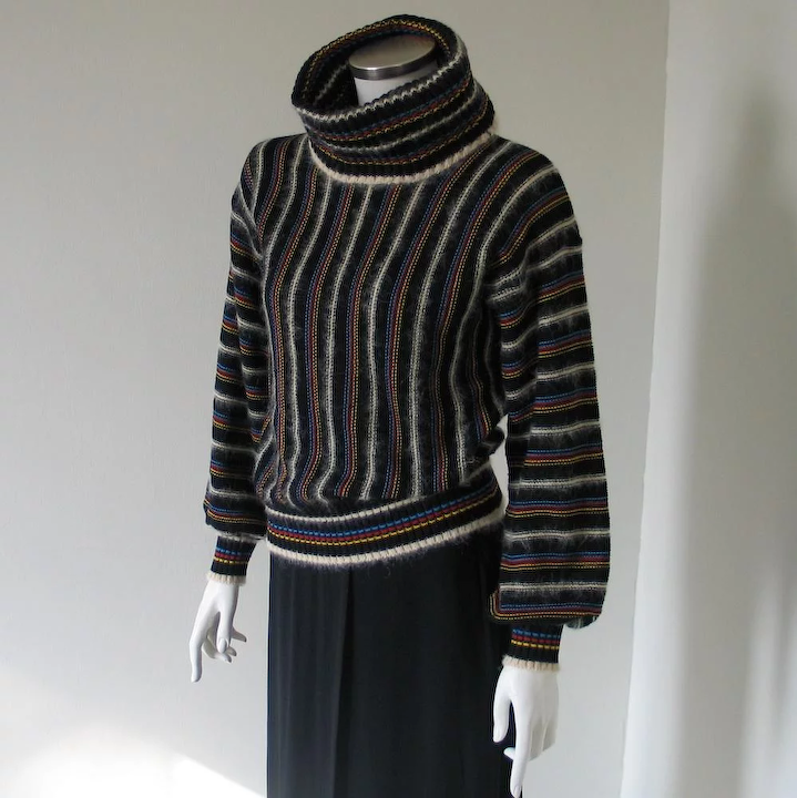 ecb63aac1a61 Vintage 1970s Luxurious Mohair Cowl Sweater Black Multi Colored Stripes M