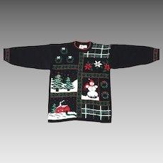 Vintage 1980s Black Christmas Sweater Metallic Shiny Lurex Red Green M L